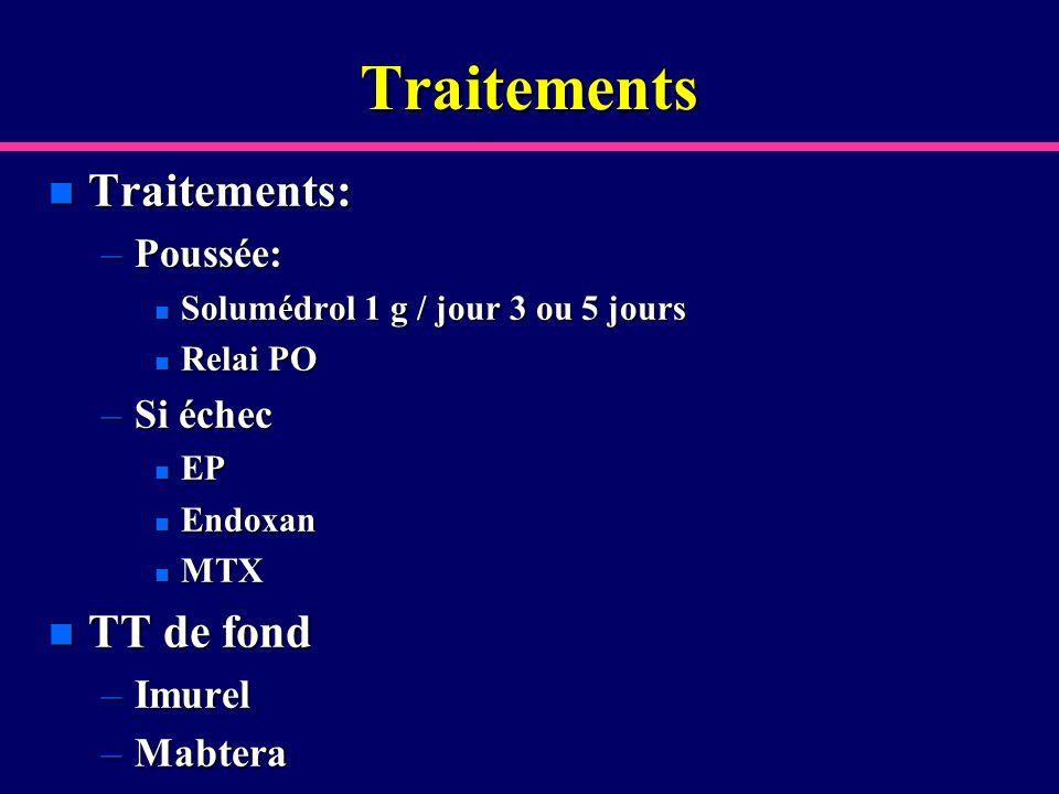 Traitements n Traitements: –Poussée: n Solumédrol 1 g / jour 3 ou 5 jours n Relai PO –Si échec n EP n Endoxan n MTX n TT de fond –Imurel –Mabtera