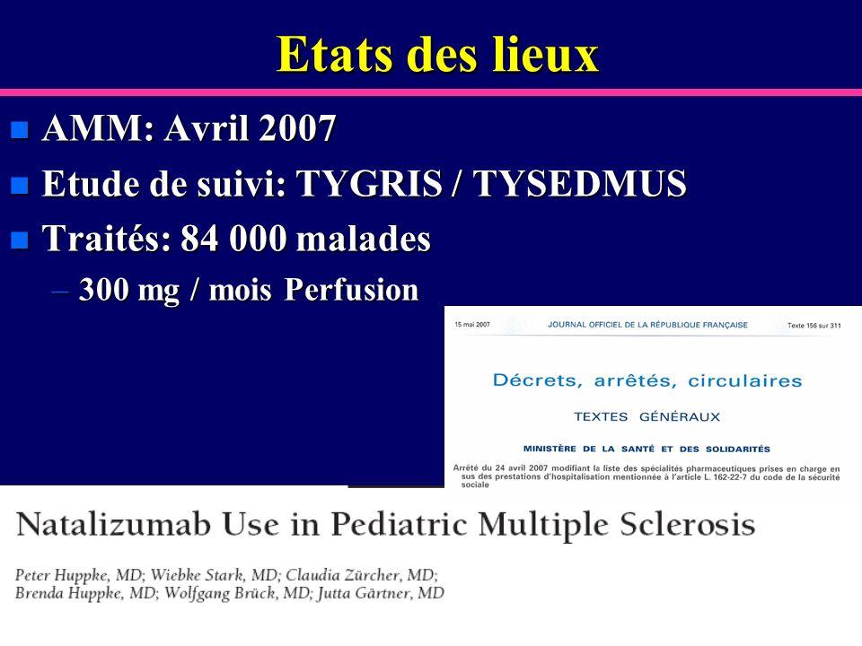Etats des lieux n AMM: Avril 2007 n Etude de suivi: TYGRIS / TYSEDMUS n Traités: 84 000 malades –300 mg / mois Perfusion