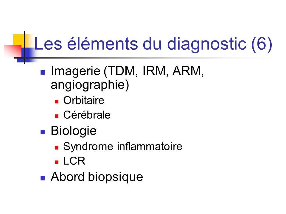 Les éléments du diagnostic (6) Imagerie (TDM, IRM, ARM, angiographie) Orbitaire Cérébrale Biologie Syndrome inflammatoire LCR Abord biopsique