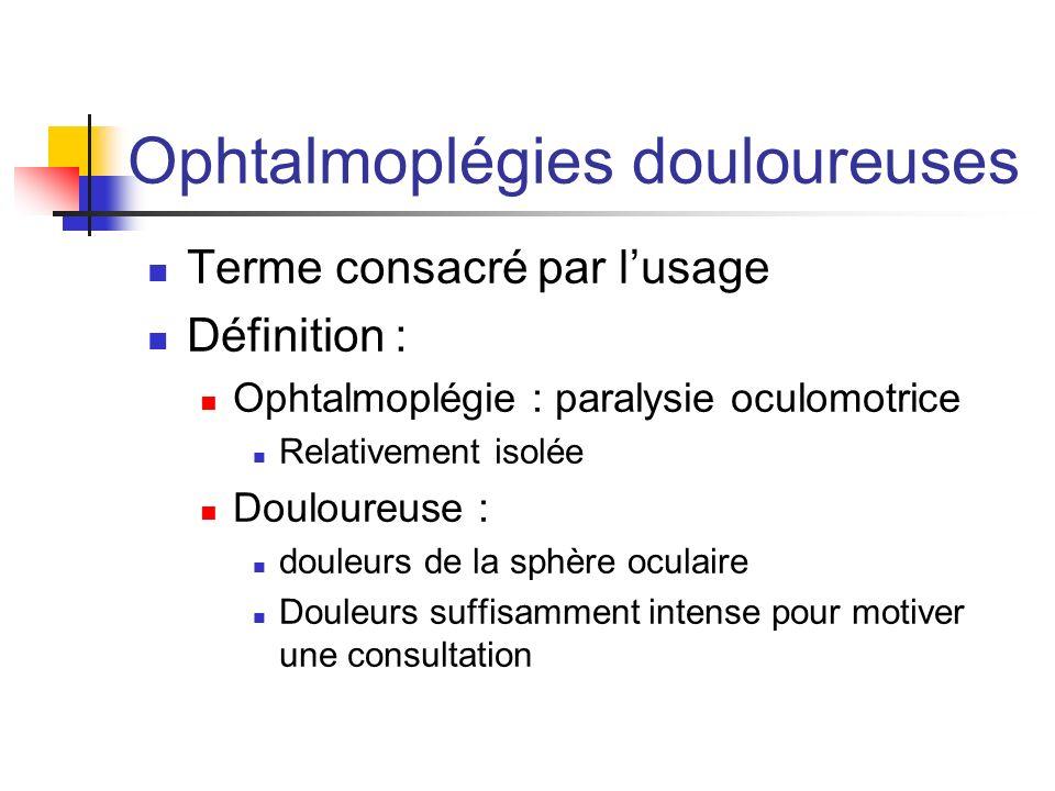Ophtalmoplégies douloureuses Terme consacré par lusage Définition : Ophtalmoplégie : paralysie oculomotrice Relativement isolée Douloureuse : douleurs