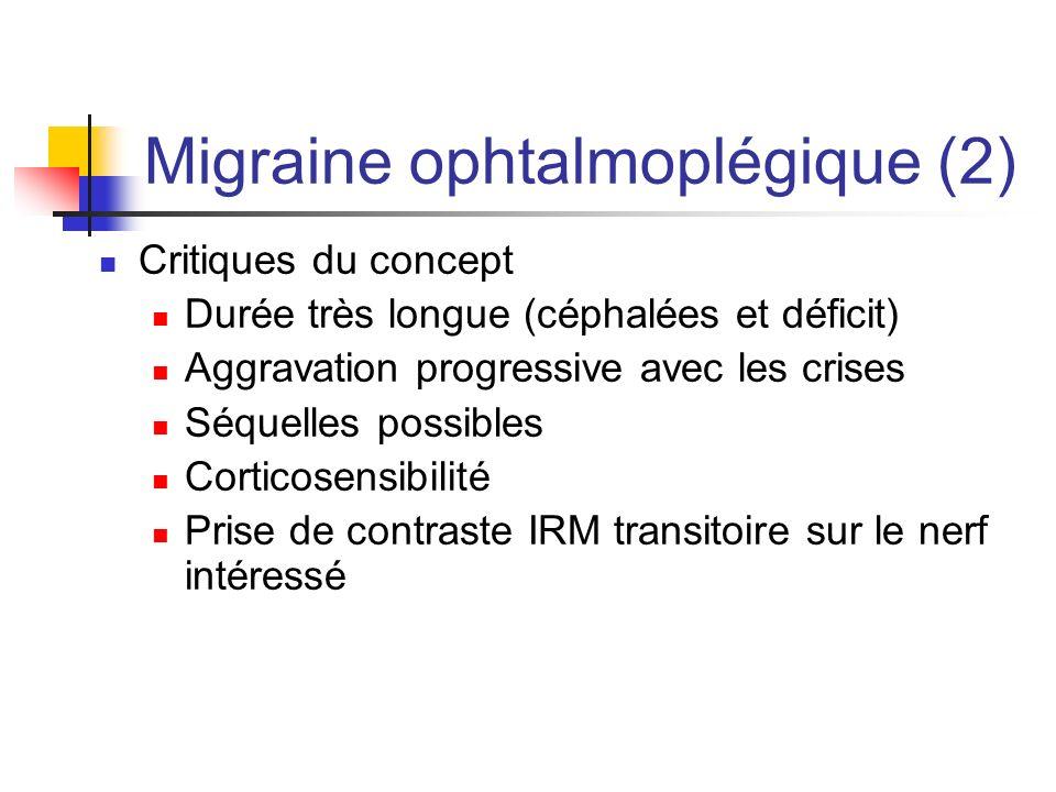 Migraine ophtalmoplégique (2) Critiques du concept Durée très longue (céphalées et déficit) Aggravation progressive avec les crises Séquelles possible
