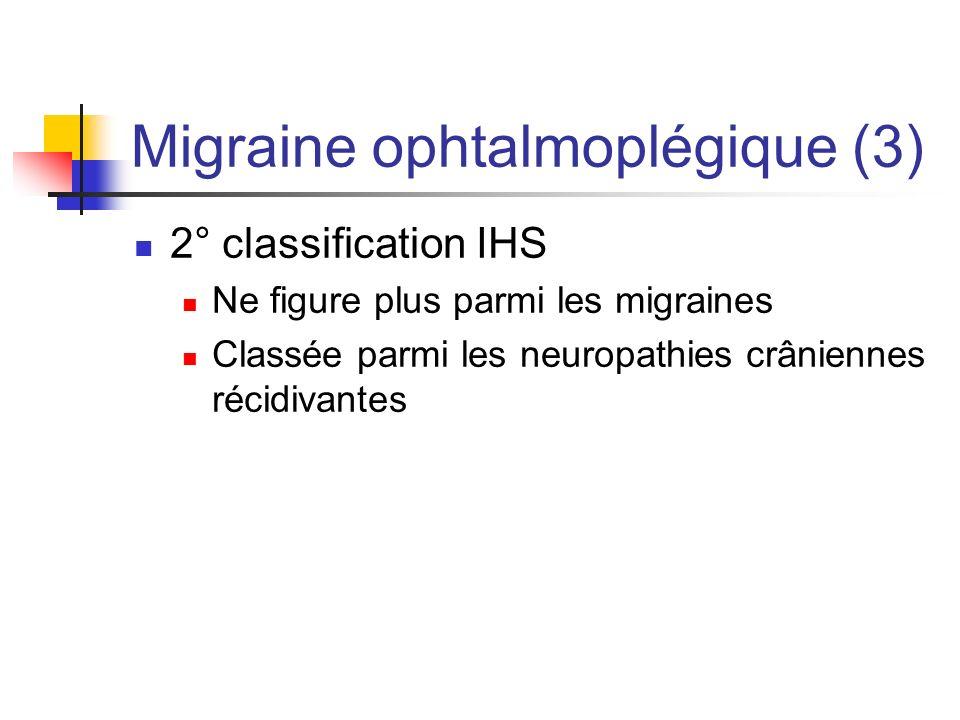 Migraine ophtalmoplégique (3) 2° classification IHS Ne figure plus parmi les migraines Classée parmi les neuropathies crâniennes récidivantes