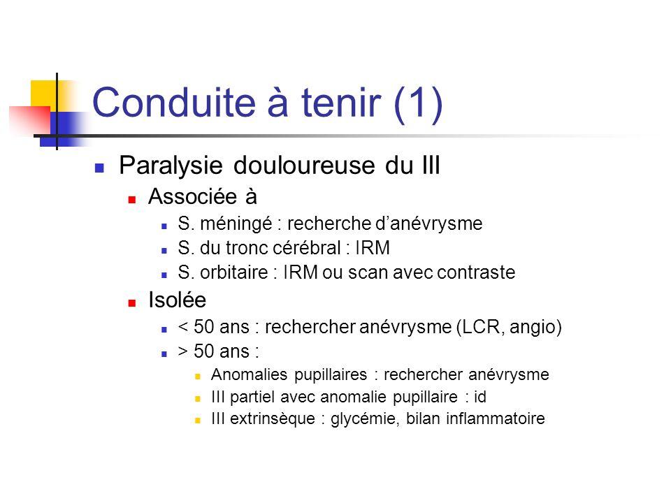 Conduite à tenir (1) Paralysie douloureuse du III Associée à S. méningé : recherche danévrysme S. du tronc cérébral : IRM S. orbitaire : IRM ou scan a