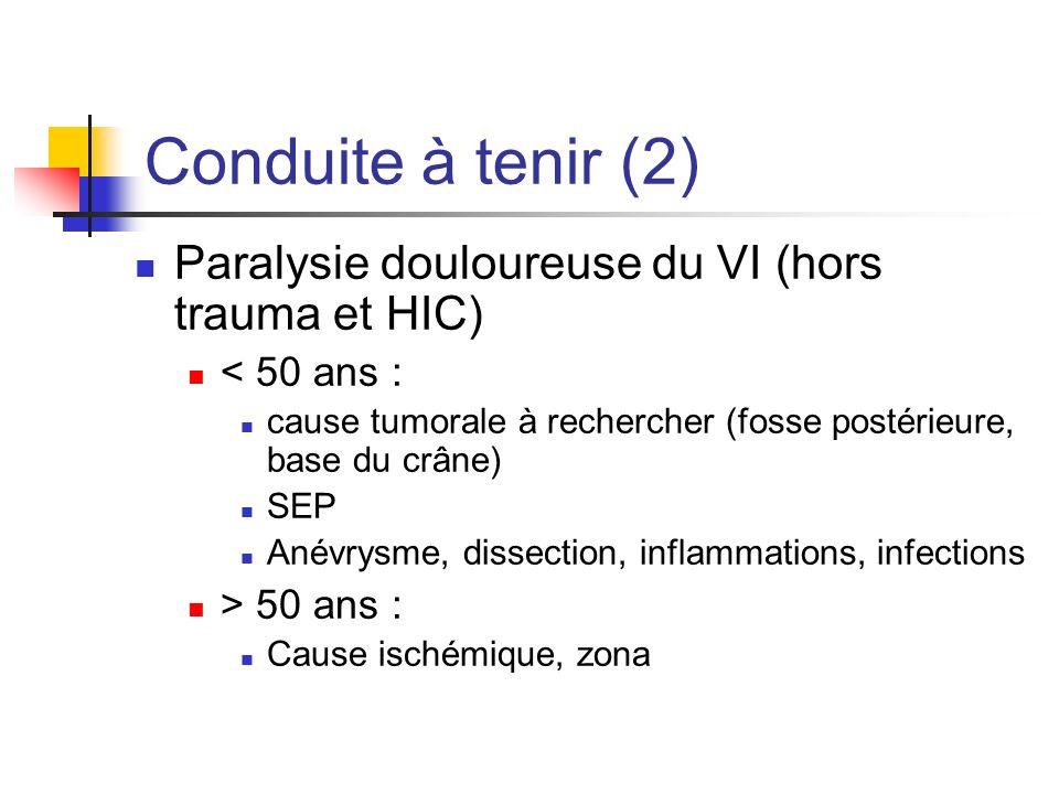 Conduite à tenir (2) Paralysie douloureuse du VI (hors trauma et HIC) < 50 ans : cause tumorale à rechercher (fosse postérieure, base du crâne) SEP An