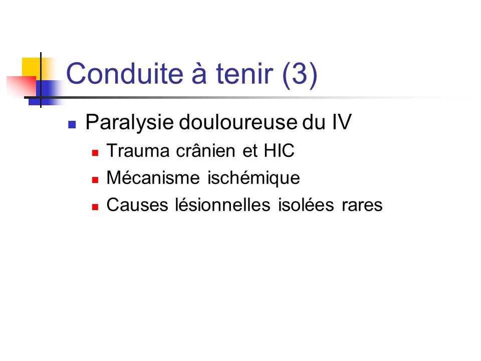 Conduite à tenir (3) Paralysie douloureuse du IV Trauma crânien et HIC Mécanisme ischémique Causes lésionnelles isolées rares