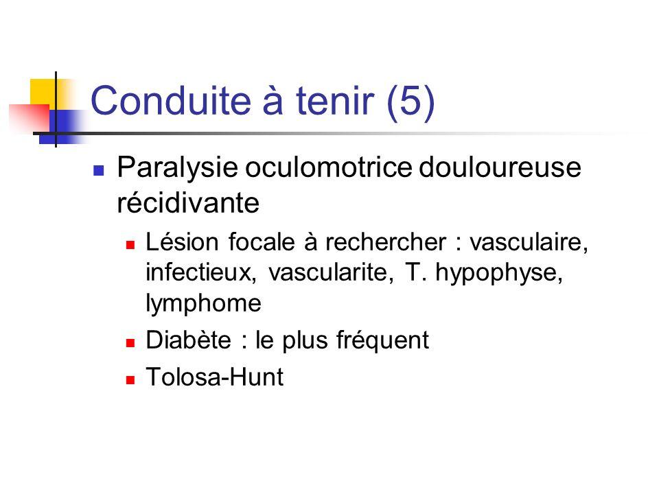 Conduite à tenir (5) Paralysie oculomotrice douloureuse récidivante Lésion focale à rechercher : vasculaire, infectieux, vascularite, T. hypophyse, ly
