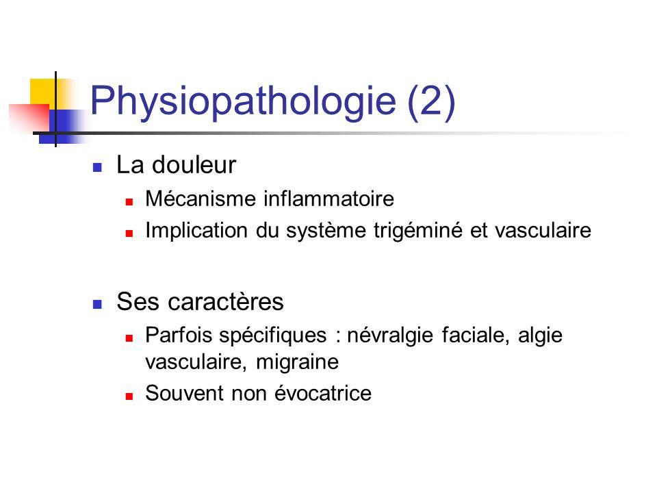 Physiopathologie (2) La douleur Mécanisme inflammatoire Implication du système trigéminé et vasculaire Ses caractères Parfois spécifiques : névralgie