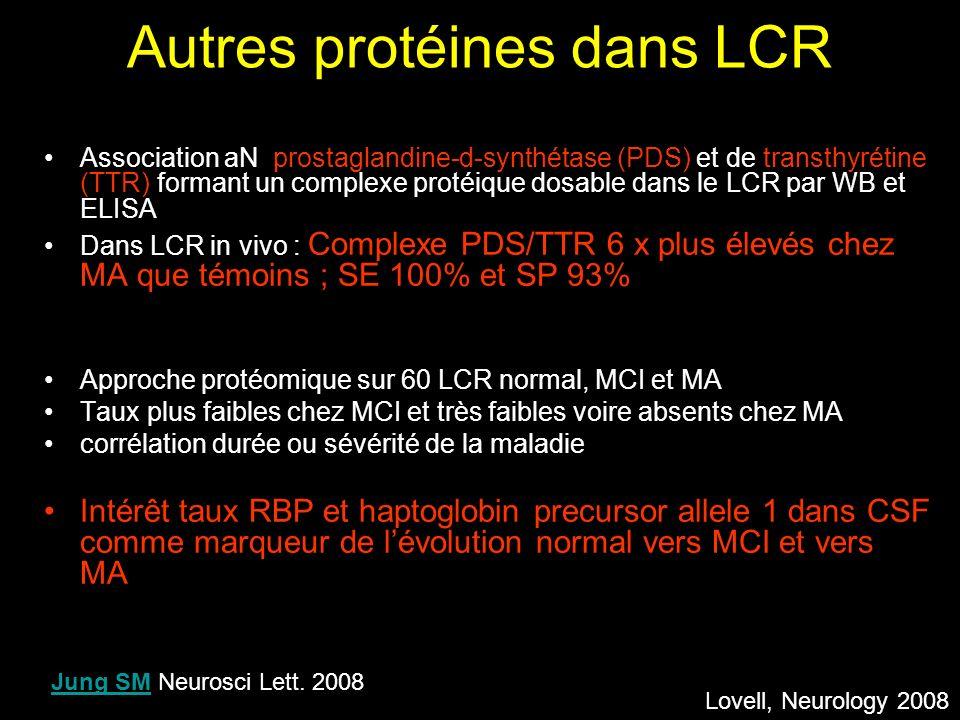 Autres protéines dans LCR Association aN prostaglandine-d-synthétase (PDS) et de transthyrétine (TTR) formant un complexe protéique dosable dans le LC
