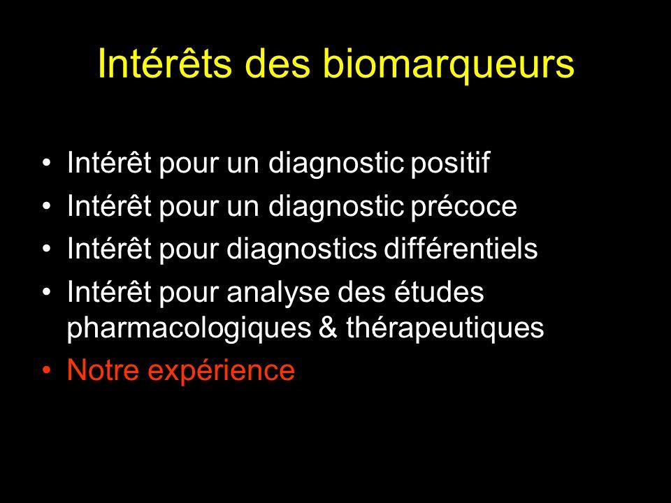 Intérêts des biomarqueurs Intérêt pour un diagnostic positif Intérêt pour un diagnostic précoce Intérêt pour diagnostics différentiels Intérêt pour an