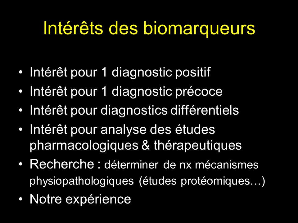 Intérêts des biomarqueurs Intérêt pour un diagnostic positif Intérêt pour un diagnostic précoce Intérêt pour diagnostics différentiels Recherche : déterminer de nx mécanismes physiopathologiques (études protéomiques…) Notre expérience