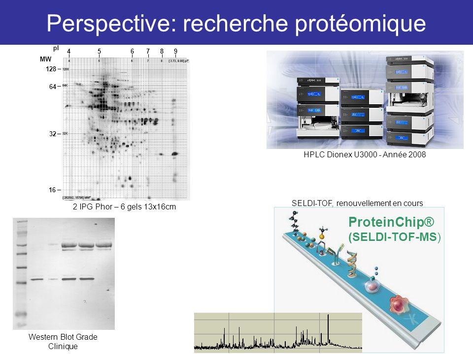 128 64 32 16 4 56 7 8 9 pI MW ProteinChip® (SELDI-TOF-MS) Perspective: recherche protéomique HPLC Dionex U3000 - Année 2008 2 IPG Phor – 6 gels 13x16c