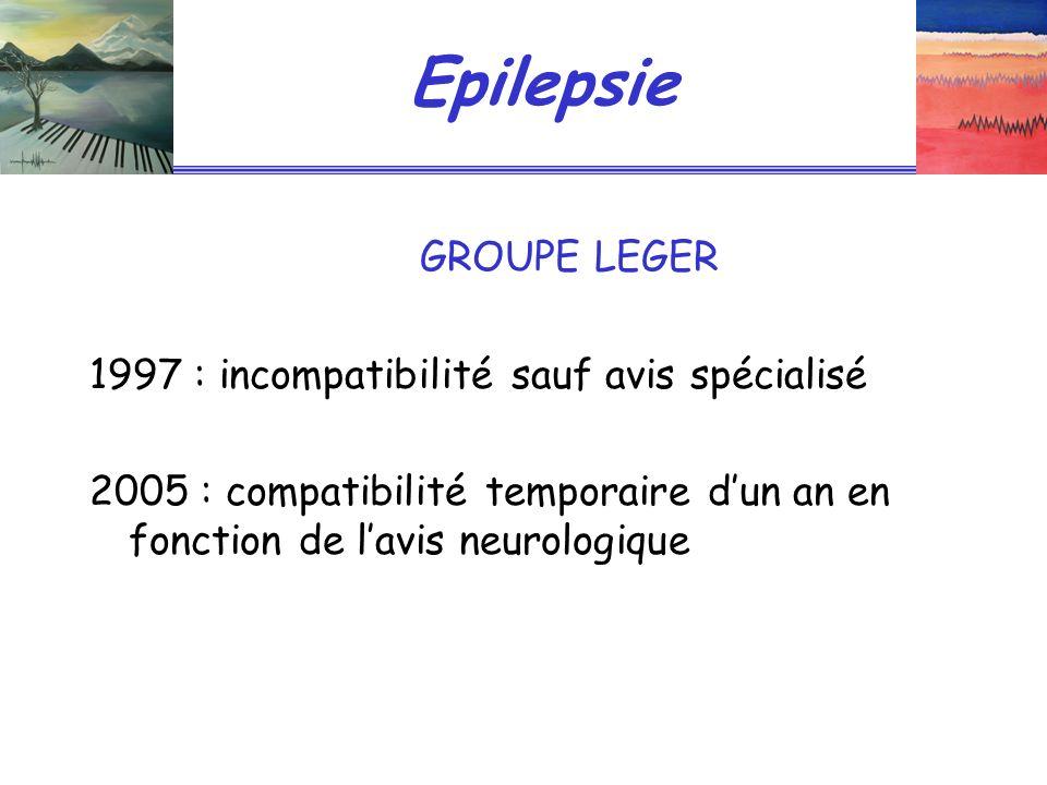 Epilepsie GROUPE LEGER 1997 : incompatibilité sauf avis spécialisé 2005 : compatibilité temporaire dun an en fonction de lavis neurologique