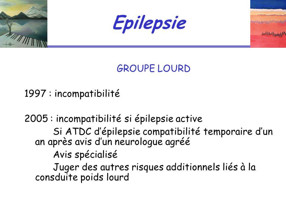 Epilepsie GROUPE LOURD 1997 : incompatibilité 2005 : incompatibilité si épilepsie active Si ATDC dépilepsie compatibilité temporaire dun an après avis