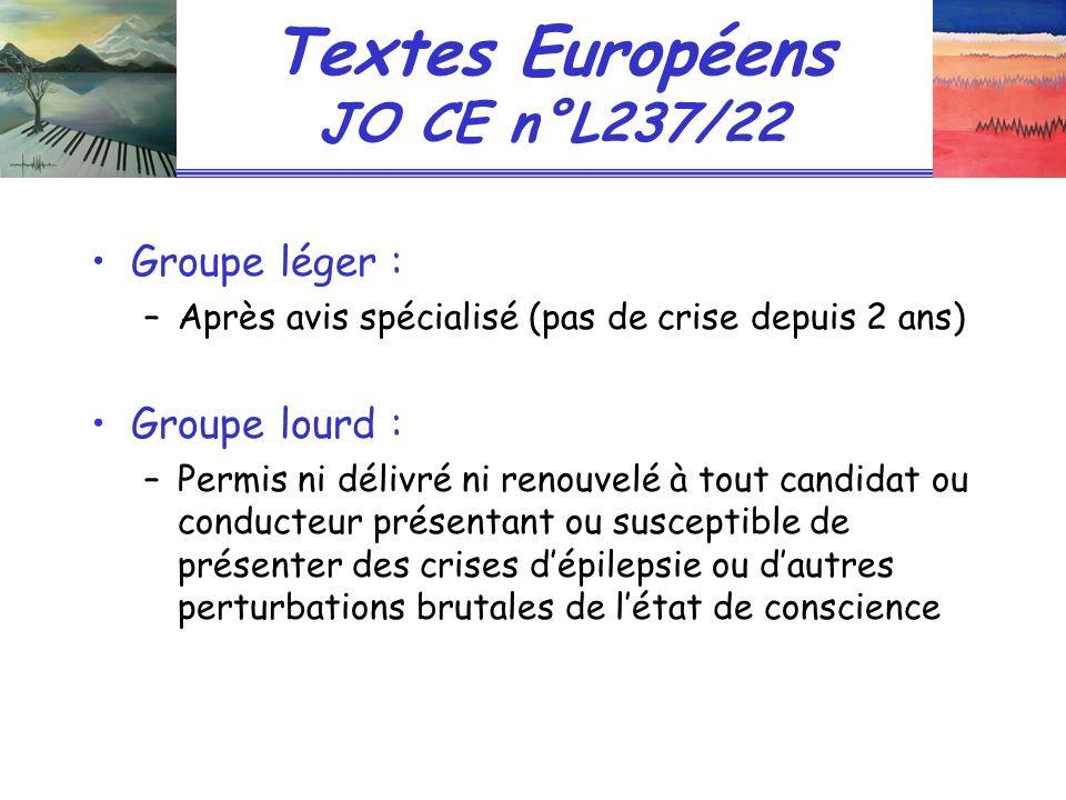 Textes Européens JO CE n°L237/22 Groupe léger : –Après avis spécialisé (pas de crise depuis 2 ans) Groupe lourd : –Permis ni délivré ni renouvelé à to