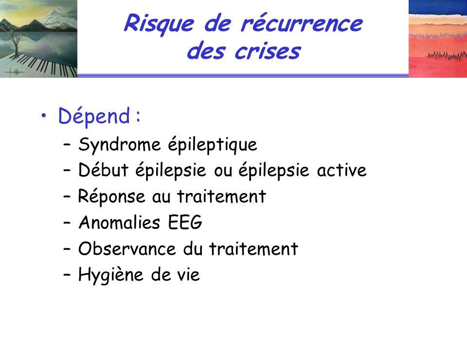 Risque de récurrence des crises Dépend : –Syndrome épileptique –Début épilepsie ou épilepsie active –Réponse au traitement –Anomalies EEG –Observance