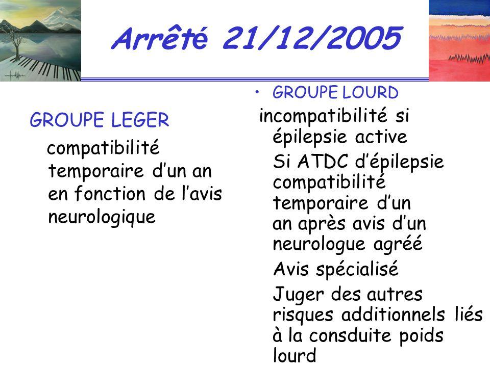 Arrêt é 21/12/2005 GROUPE LEGER compatibilité temporaire dun an en fonction de lavis neurologique GROUPE LOURD incompatibilité si épilepsie active Si