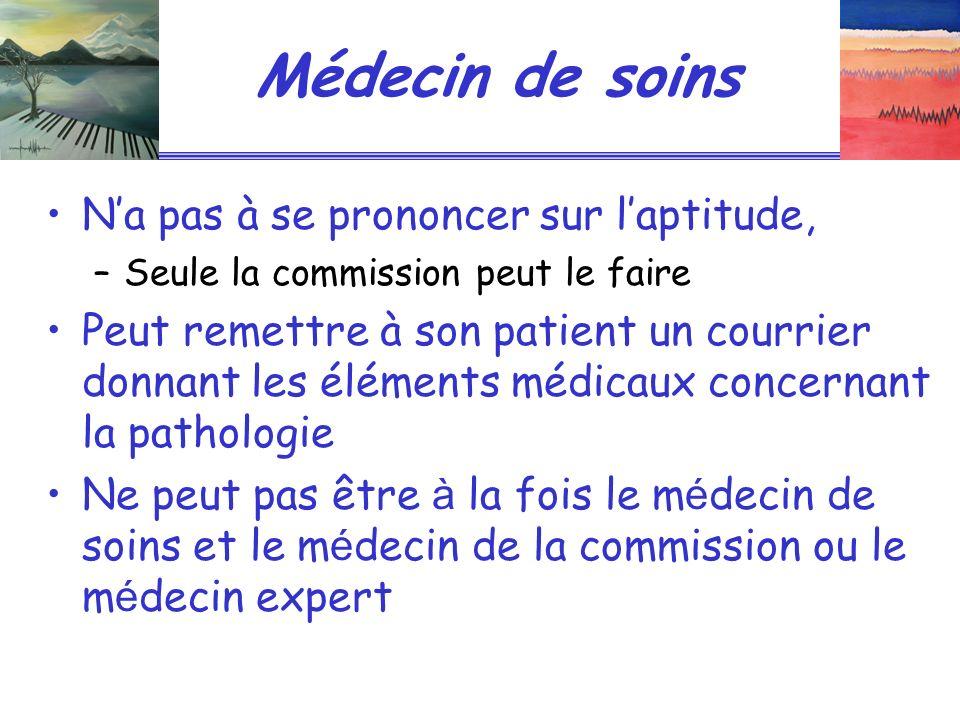 Médecin de soins Na pas à se prononcer sur laptitude, –Seule la commission peut le faire Peut remettre à son patient un courrier donnant les éléments