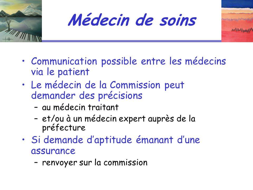 Médecin de soins Communication possible entre les médecins via le patient Le médecin de la Commission peut demander des précisions –au médecin traitan