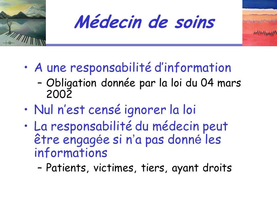 Médecin de soins A une responsabilité dinformation –Obligation donnée par la loi du 04 mars 2002 Nul nest censé ignorer la loi La responsabilité du mé