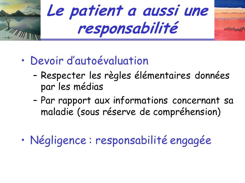 Le patient a aussi une responsabilité Devoir dautoévaluation –Respecter les règles élémentaires données par les médias –Par rapport aux informations c