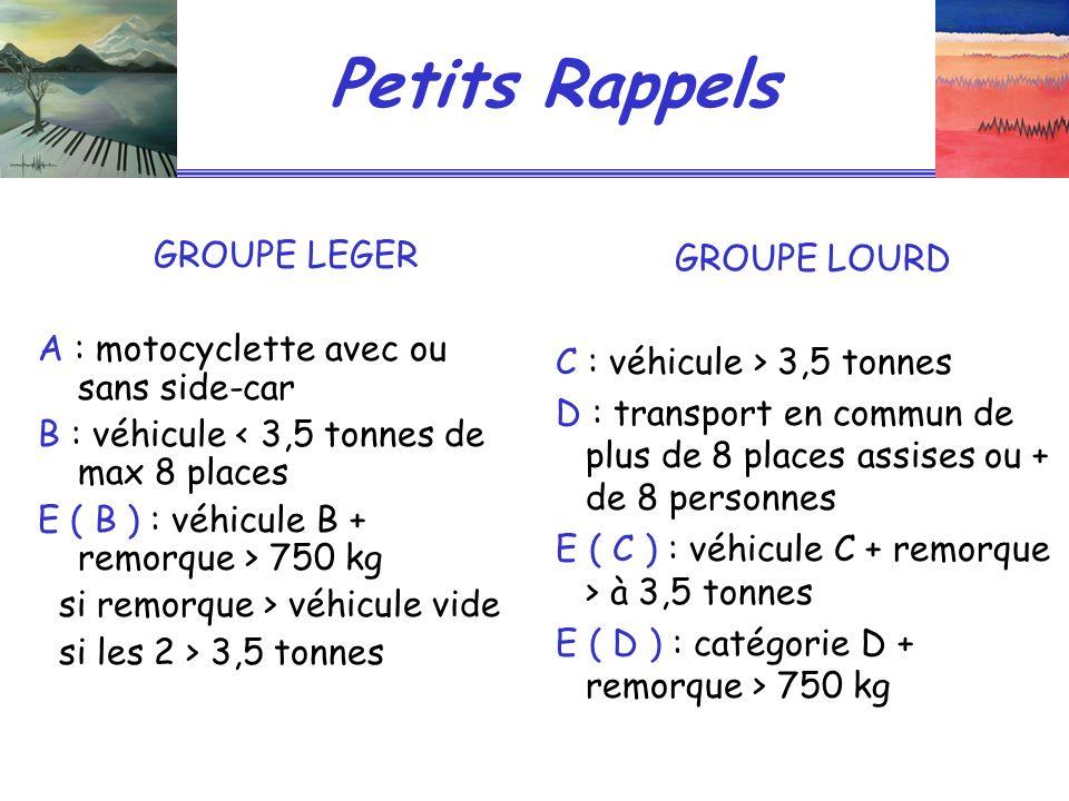 Petits Rappels GROUPE LEGER A : motocyclette avec ou sans side-car B : véhicule < 3,5 tonnes de max 8 places E ( B ) : véhicule B + remorque > 750 kg