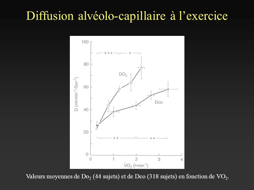 Diffusion alvéolo-capillaire à lexercice Valeurs moyennes de Do 2 (44 sujets) et de Dco (318 sujets) en fonction de VO 2.