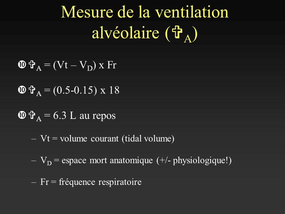 V A = (Vt – V D ) x Fr V A = (0.5-0.15) x 18 V A = 6.3 L au repos –Vt = volume courant (tidal volume) –V D = espace mort anatomique (+/- physiologique