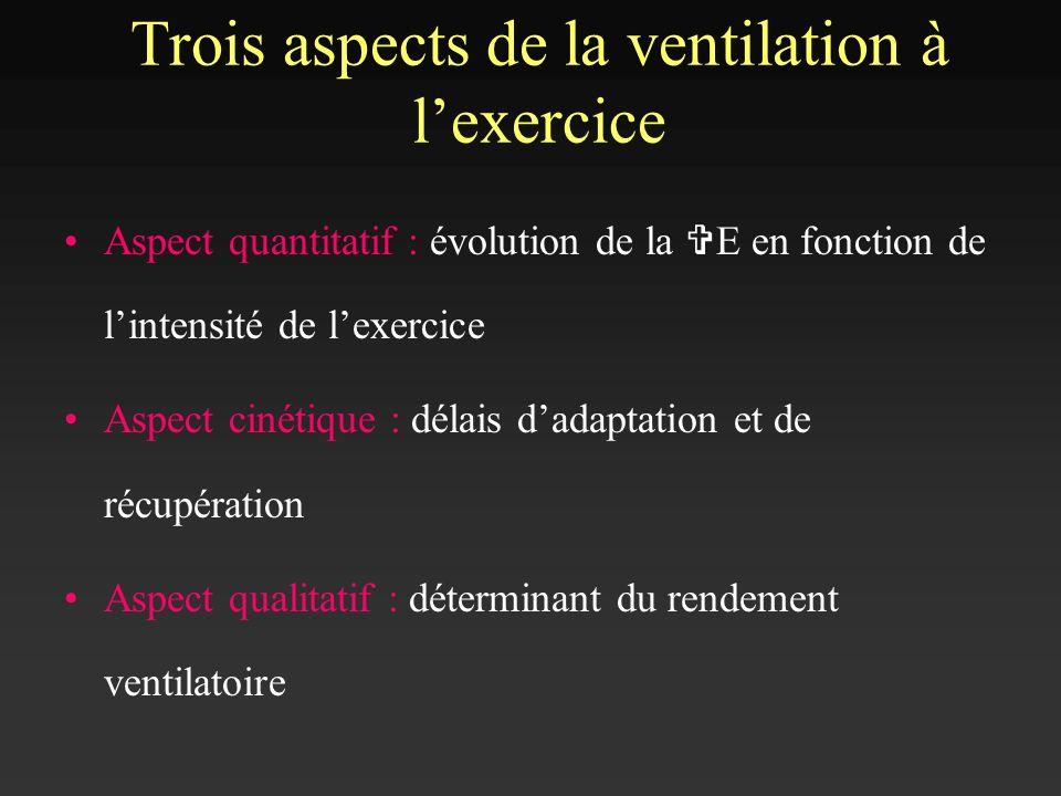 Aspect quantitatif : évolution de la V E en fonction de lintensité de lexercice Aspect cinétique : délais dadaptation et de récupération Aspect qualit