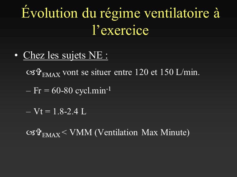 Chez les sujets NE : –V EMAX vont se situer entre 120 et 150 L/min. –Fr = 60-80 cycl.min -1 –Vt = 1.8-2.4 L –V EMAX < VMM (Ventilation Max Minute) Évo