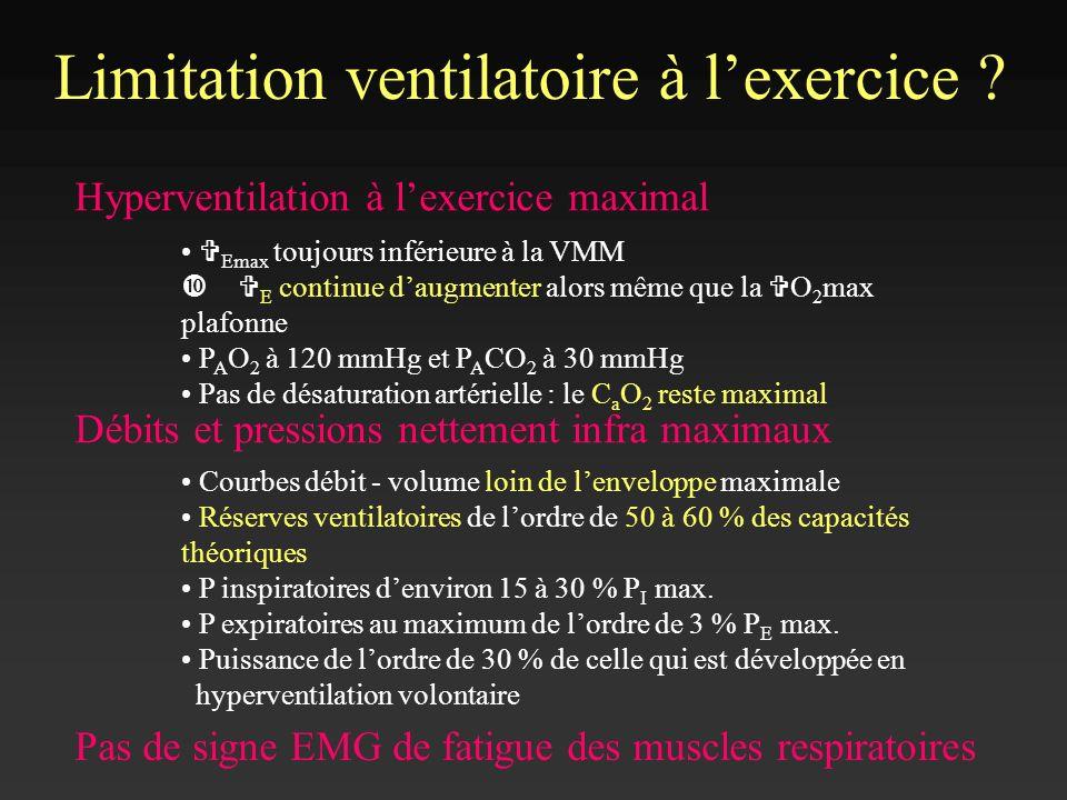 Limitation ventilatoire à lexercice ? Hyperventilation à lexercice maximal V Emax toujours inférieure à la VMM V E continue daugmenter alors même que