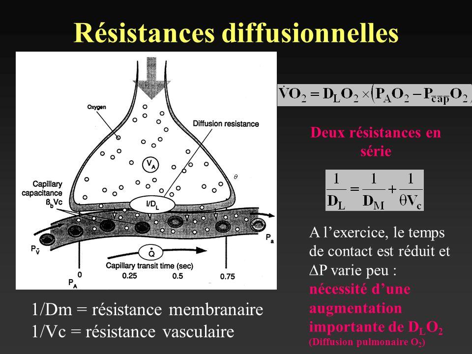Déterminé par léquation de Fick : V (ml/mmHg/min) = D x dP x S/e D = coefficient de diffusion S = surface de laire de diffusion dP = gradient de pression e = Epaisseur de la membrane Diffusion alvéolo-capillaire