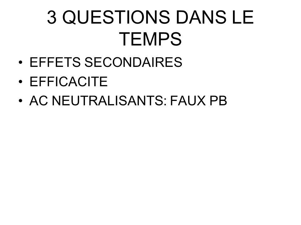 3 QUESTIONS DANS LE TEMPS EFFETS SECONDAIRES EFFICACITE AC NEUTRALISANTS: FAUX PB