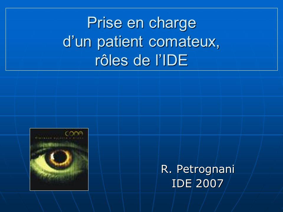 Prise en charge dun patient comateux, rôles de lIDE R. Petrognani IDE 2007