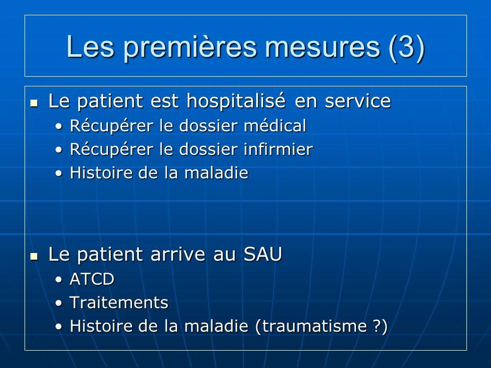 Les premières mesures (3) Le patient est hospitalisé en service Le patient est hospitalisé en service Récupérer le dossier médicalRécupérer le dossier