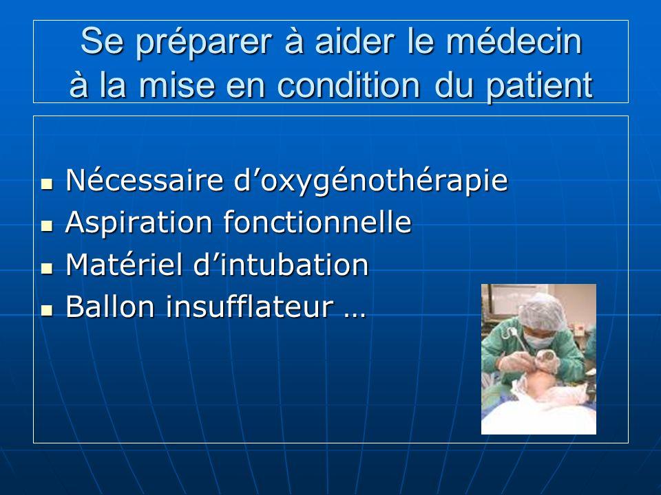 Se préparer à aider le médecin à la mise en condition du patient Nécessaire doxygénothérapie Nécessaire doxygénothérapie Aspiration fonctionnelle Aspi