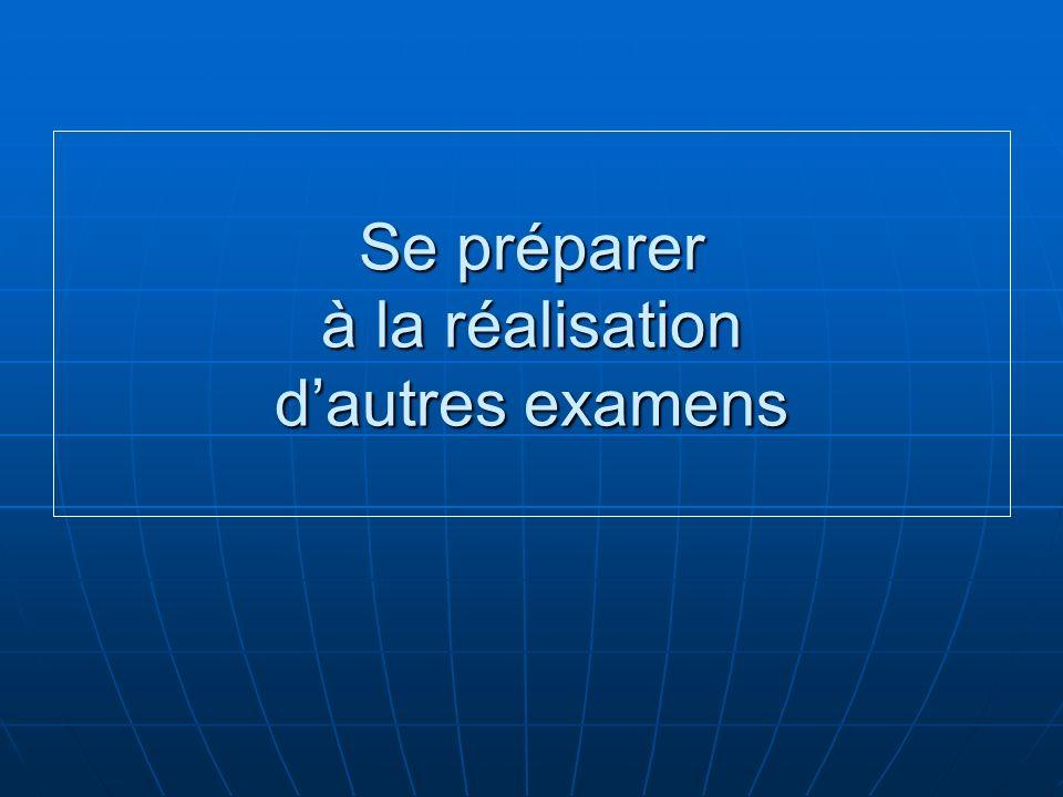 Se préparer à la réalisation dautres examens