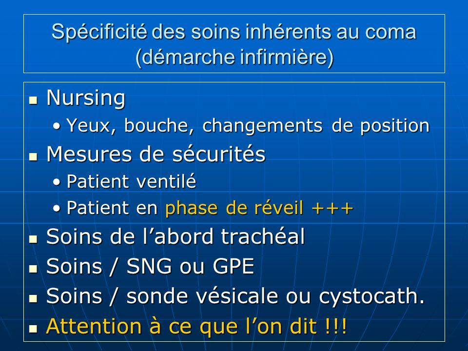 Spécificité des soins inhérents au coma (démarche infirmière) Nursing Nursing Yeux, bouche, changements de positionYeux, bouche, changements de positi