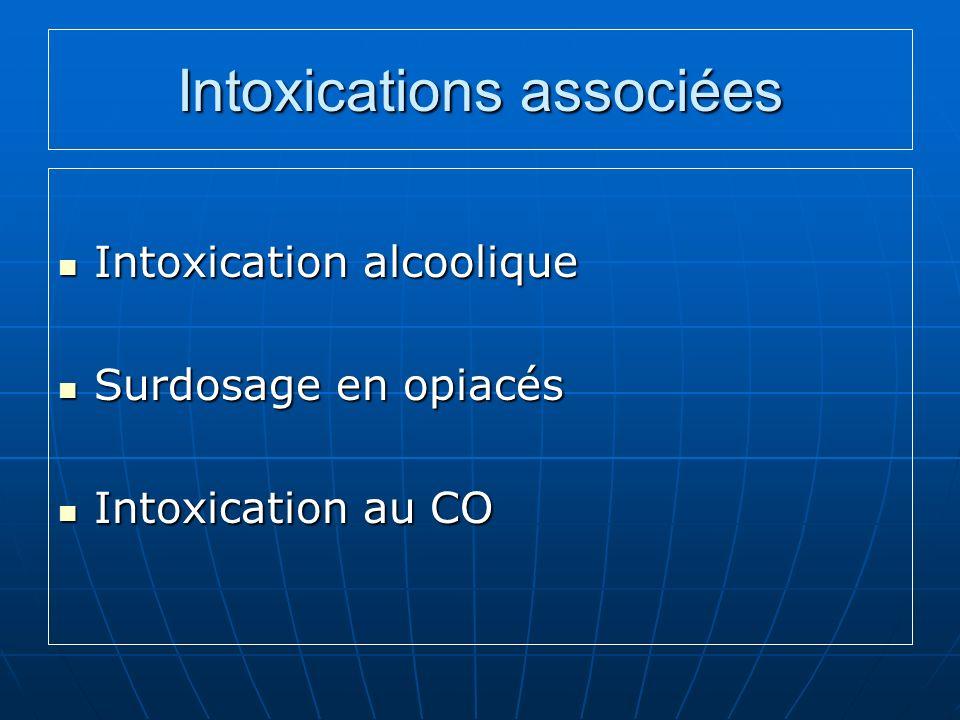 Intoxications associées Intoxication alcoolique Intoxication alcoolique Surdosage en opiacés Surdosage en opiacés Intoxication au CO Intoxication au C