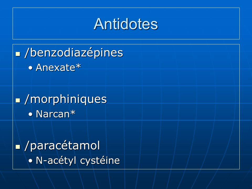 Antidotes /benzodiazépines /benzodiazépines Anexate*Anexate* /morphiniques /morphiniques Narcan*Narcan* /paracétamol /paracétamol N-acétyl cystéineN-acétyl cystéine