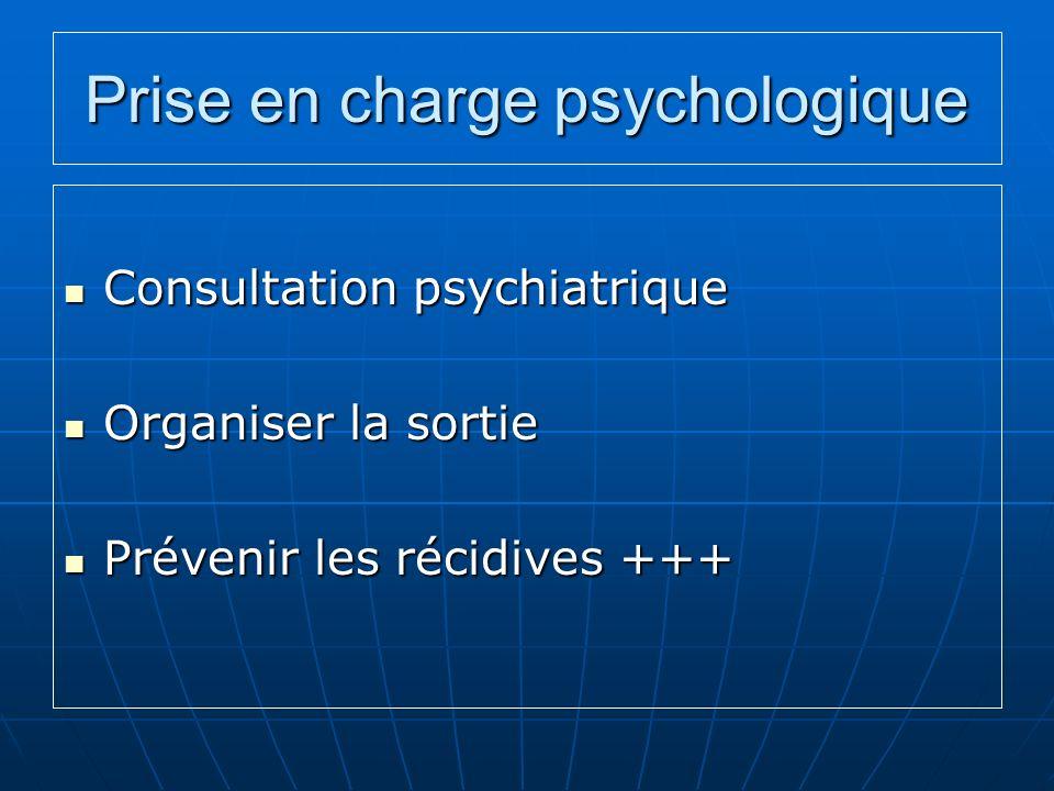 Prise en charge psychologique Consultation psychiatrique Consultation psychiatrique Organiser la sortie Organiser la sortie Prévenir les récidives +++ Prévenir les récidives +++