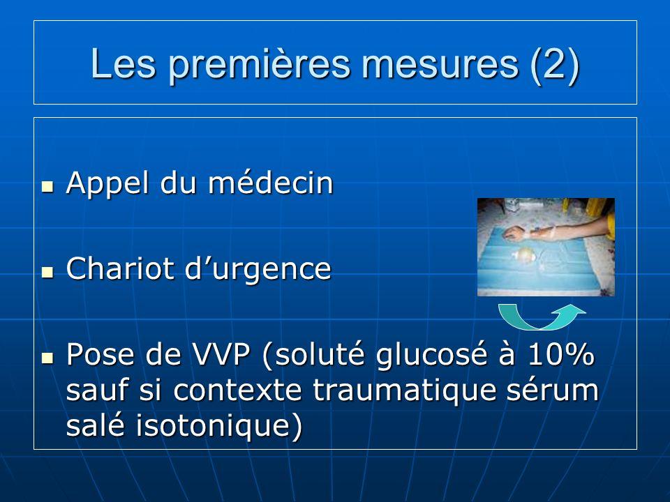 Les premières mesures (2) Appel du médecin Appel du médecin Chariot durgence Chariot durgence Pose de VVP (soluté glucosé à 10% sauf si contexte traumatique sérum salé isotonique) Pose de VVP (soluté glucosé à 10% sauf si contexte traumatique sérum salé isotonique)
