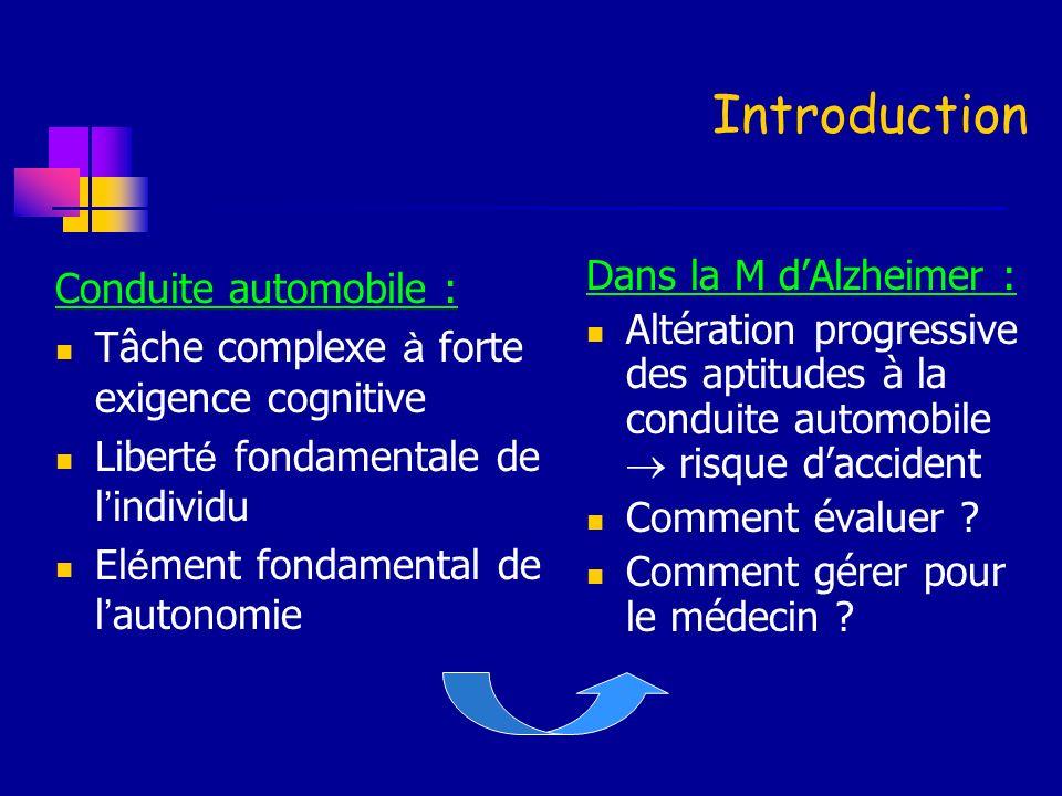 Introduction Conduite automobile : Tâche complexe à forte exigence cognitive Libert é fondamentale de l individu El é ment fondamental de l autonomie