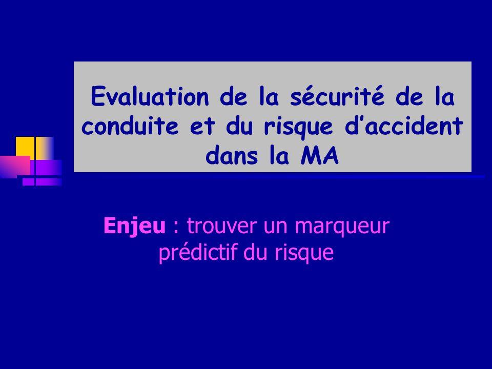 Evaluation de la sécurité de la conduite et du risque daccident dans la MA Enjeu : trouver un marqueur prédictif du risque