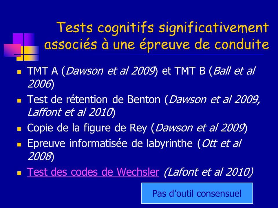 Tests cognitifs significativement associés à une épreuve de conduite TMT A (Dawson et al 2009) et TMT B (Ball et al 2006) Test de rétention de Benton