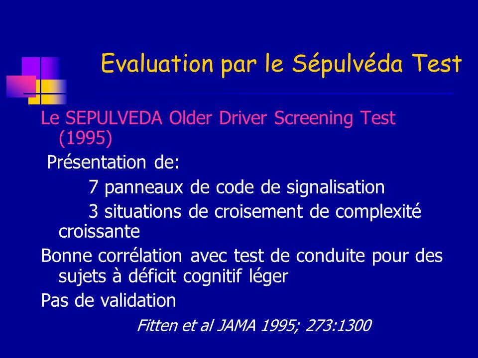 Evaluation par le Sépulvéda Test Le SEPULVEDA Older Driver Screening Test (1995) Présentation de: 7 panneaux de code de signalisation 3 situations de