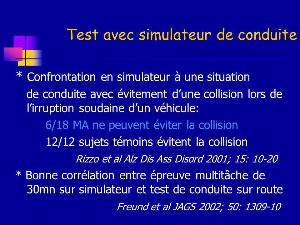 Test avec simulateur de conduite * Confrontation en simulateur à une situation de conduite avec évitement dune collision lors de lirruption soudaine d