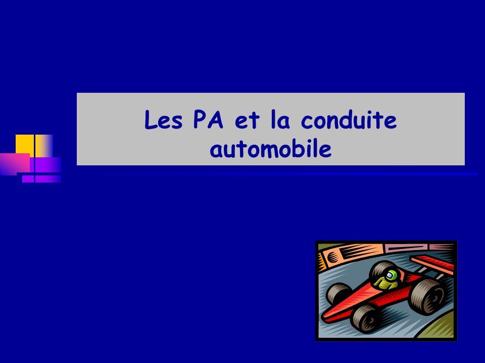 La conduite automobile chez les PA En France : conducteurs chez les PA de > 60 ans: - en 1960 : 10 % - en 2000 : 20 % - en 2040 : 30 % Modification de la législation par arrêté du 21 déc 2005 - pas de limite dâge pour la conduite - pas de contrôle chez SA - instruction spécifique pour laptitude cognitive