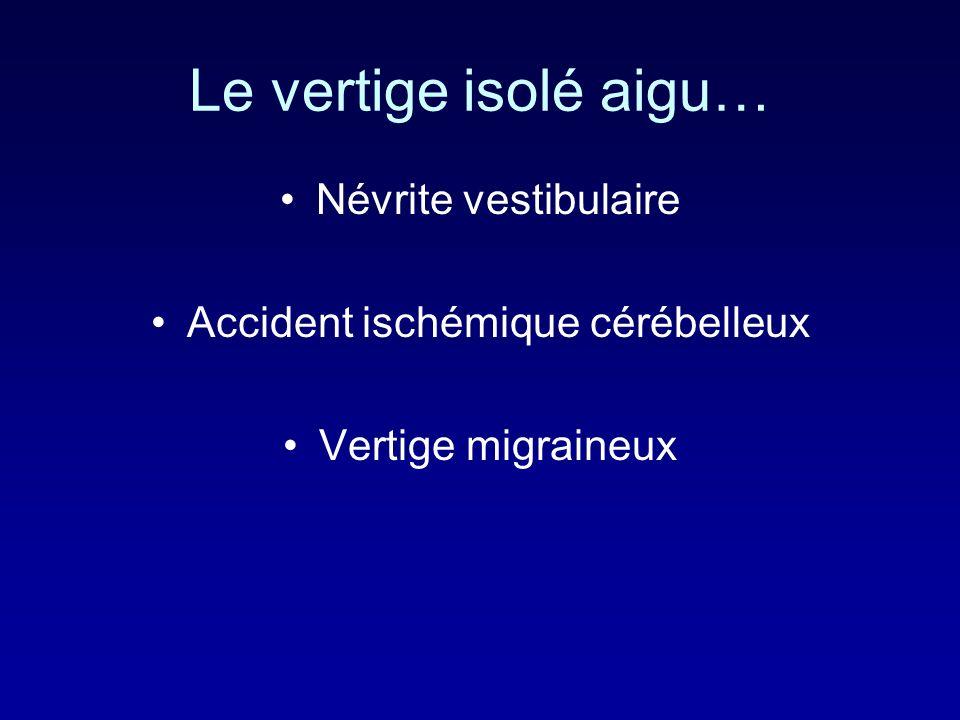 Le vertige isolé aigu… Névrite vestibulaire Accident ischémique cérébelleux Vertige migraineux