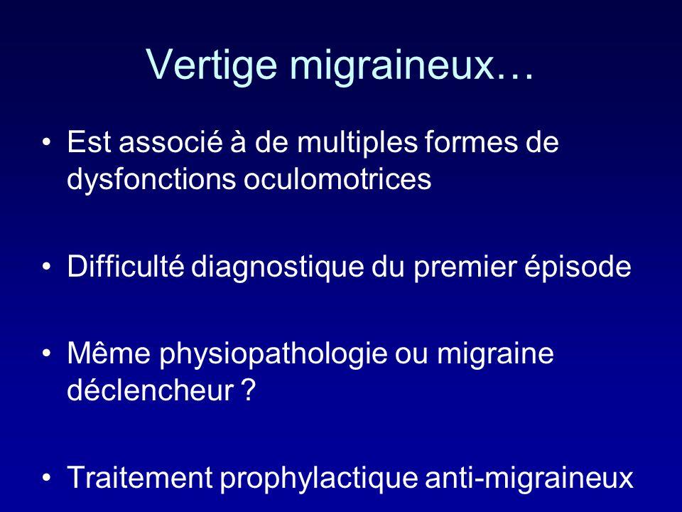 Vertige migraineux… Est associé à de multiples formes de dysfonctions oculomotrices Difficulté diagnostique du premier épisode Même physiopathologie o