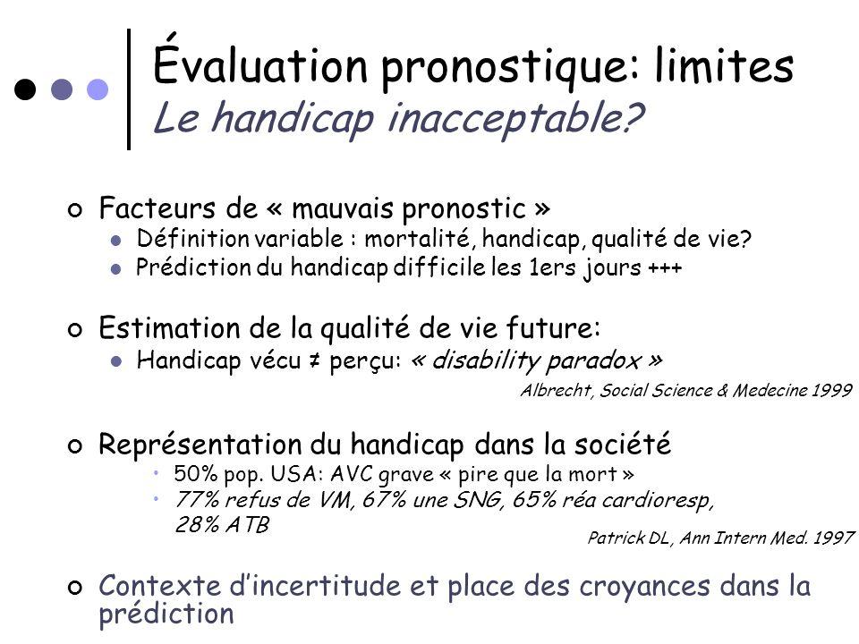 Évaluation pronostique: limites Le handicap inacceptable? Facteurs de « mauvais pronostic » Définition variable : mortalité, handicap, qualité de vie?